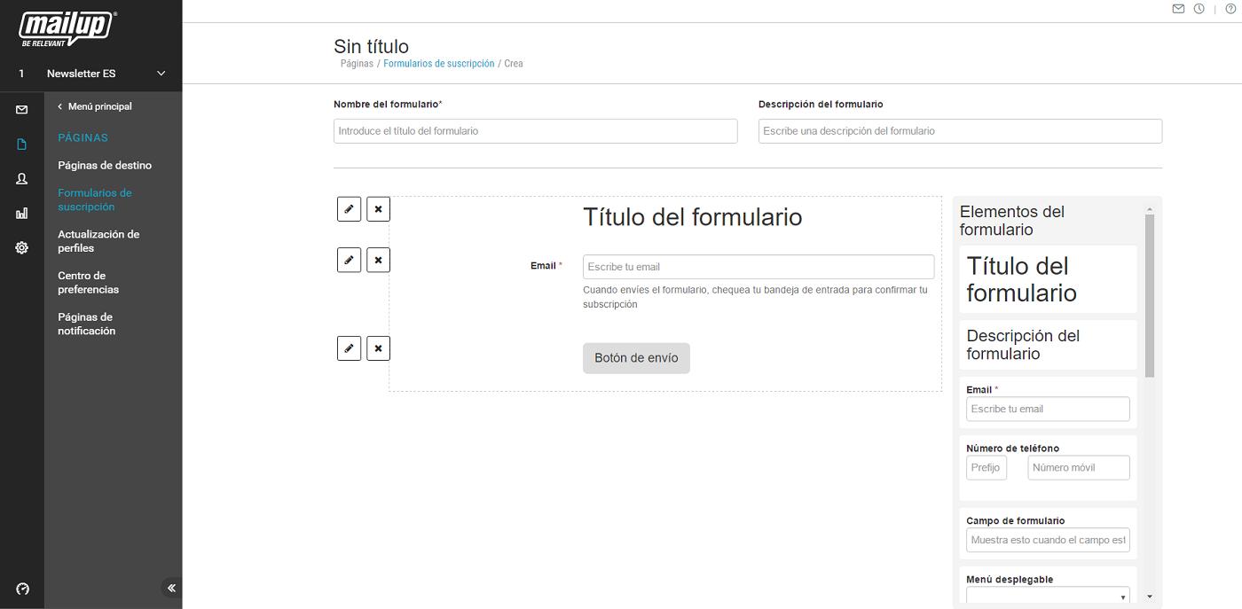 El editor de formularios de Mailup