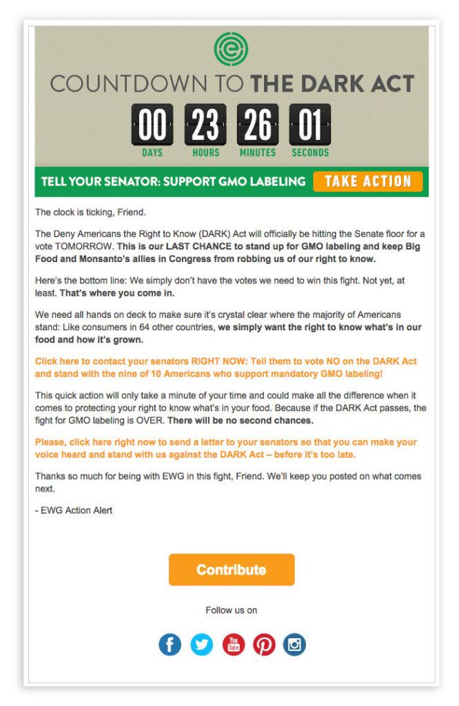 EWG cuenta atras email