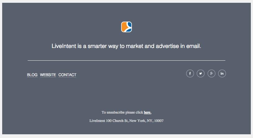 El pie de página de LiveIntent.