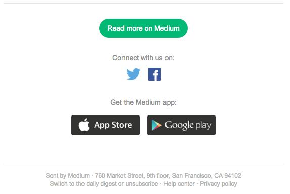 El pie de página de Medium.