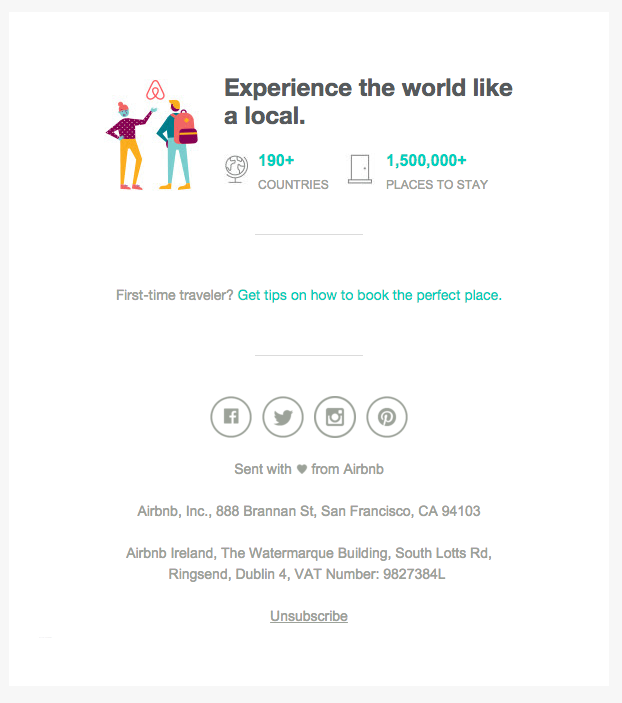El pie de página de Airbnb.