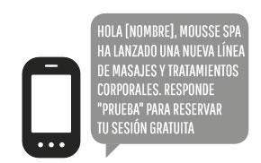 El SMS para Permitir la activación de los servicios