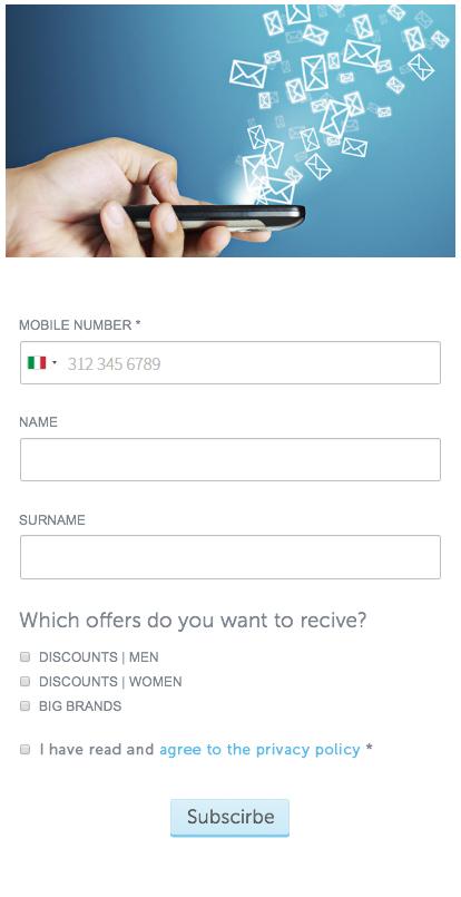 Un formulario creado con MailUp Facebook App.
