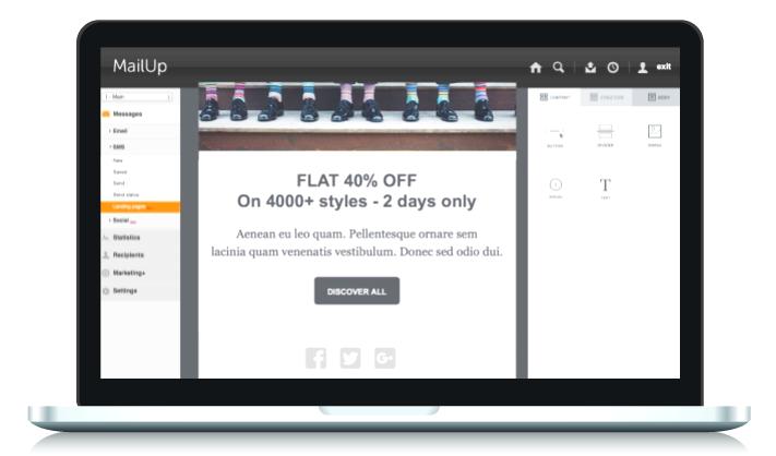Una página de aterrizaje creada con MailUp.