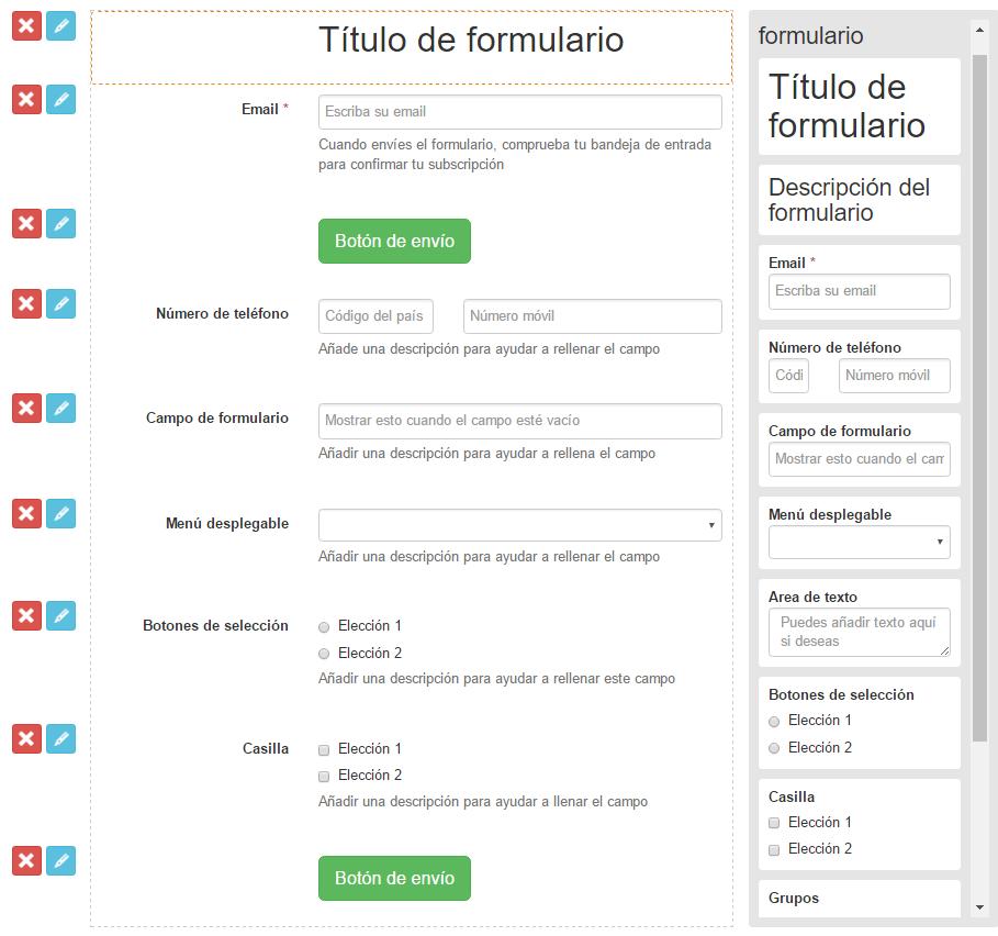 Un formulario de autoperfilado creado con MailUp