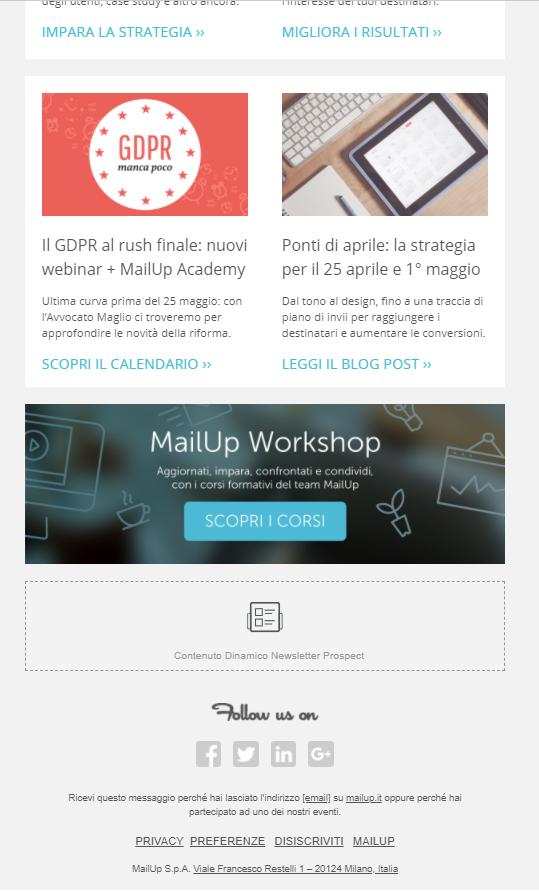 El boletín de MailUp con contenidos dinámicos