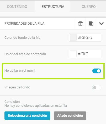 La opción de evitar la disposición en columna en móvil