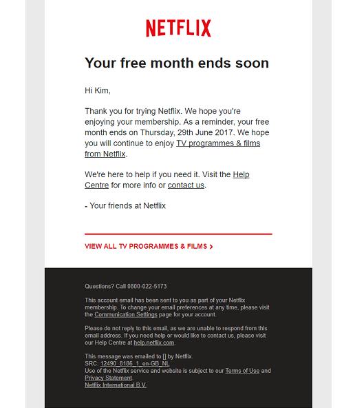 El email de Netflix