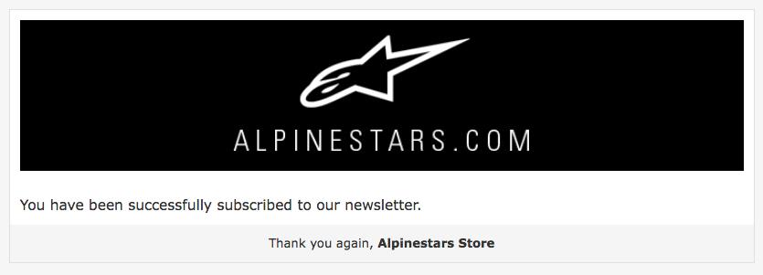 El email de confirmación de Alpinestars