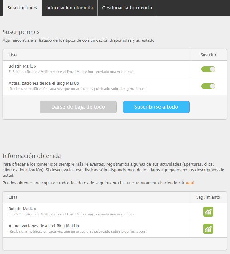 Le centro gestion de perfil de MailUp