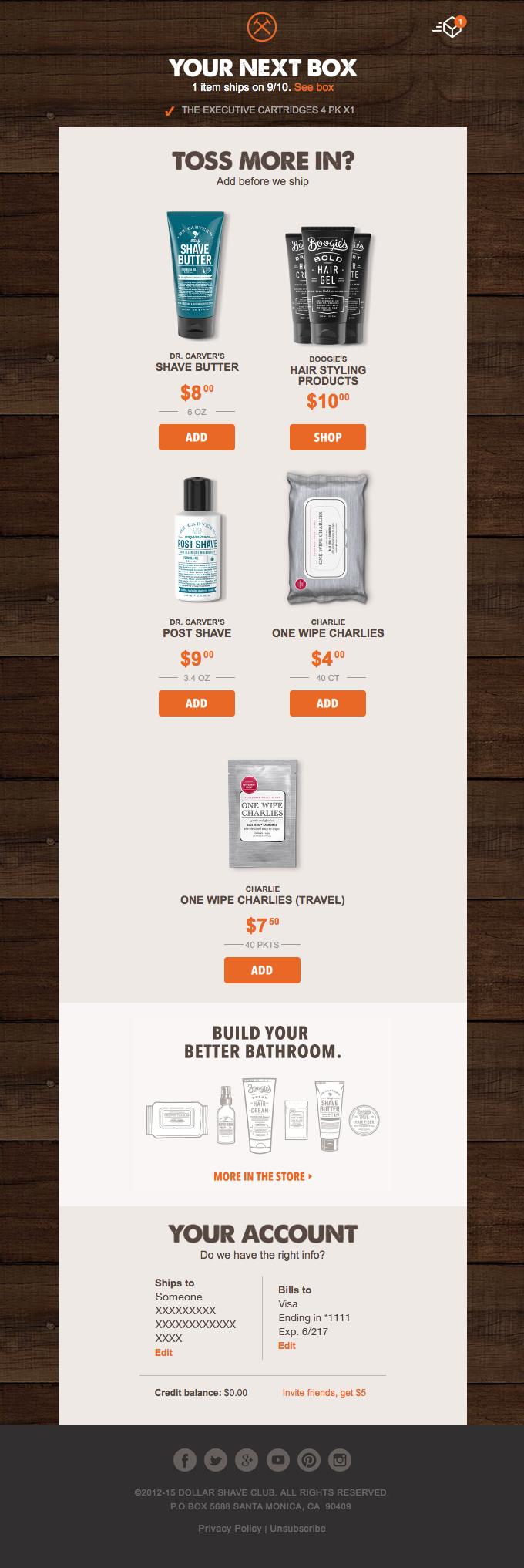 Un ejemplo de email con productos recomendados y descuento