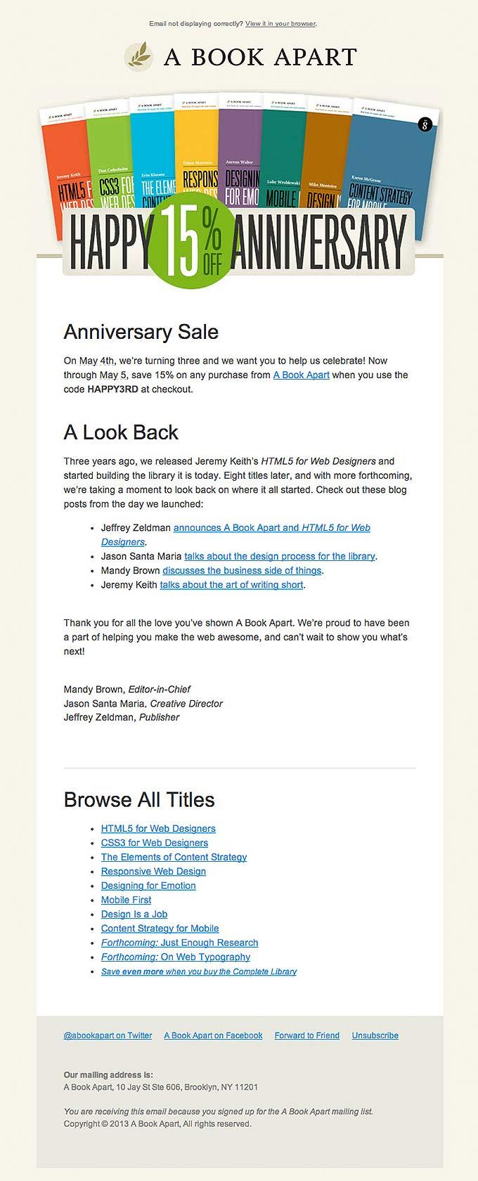 El email de A book apart