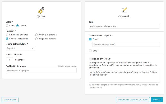 Las nuevas funciones en los formularios de suscripción emergentes