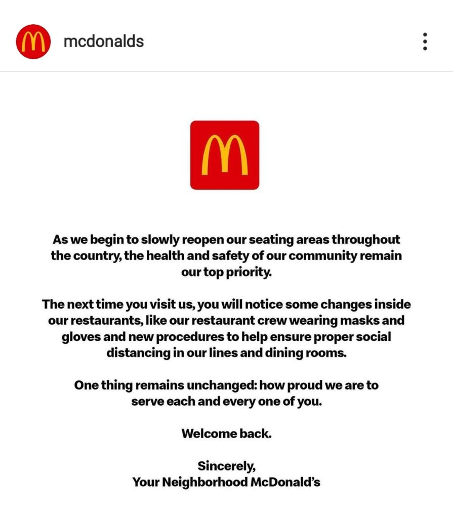 mcdonald's safety covid measures