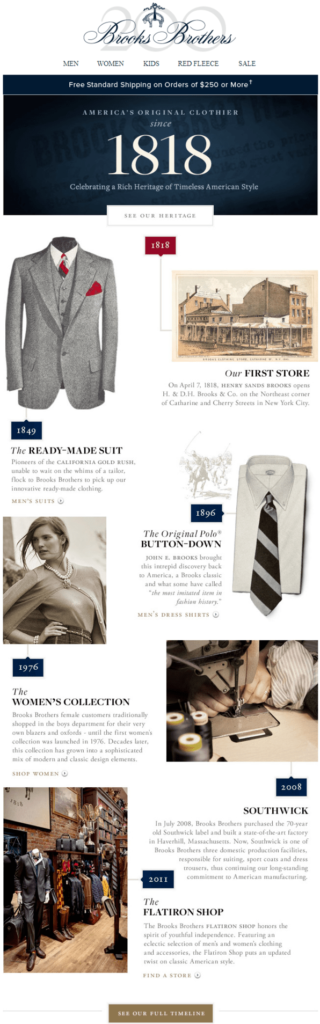 brooks brothers storytelling for anniversary example