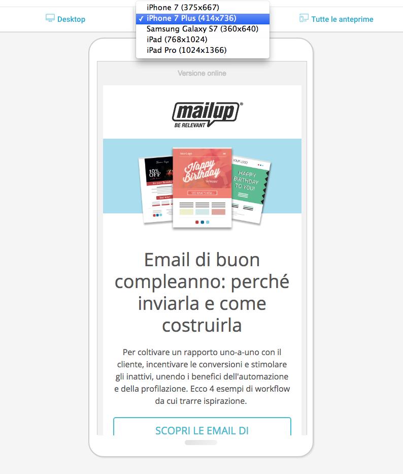 MailUp vista previa del mensaje