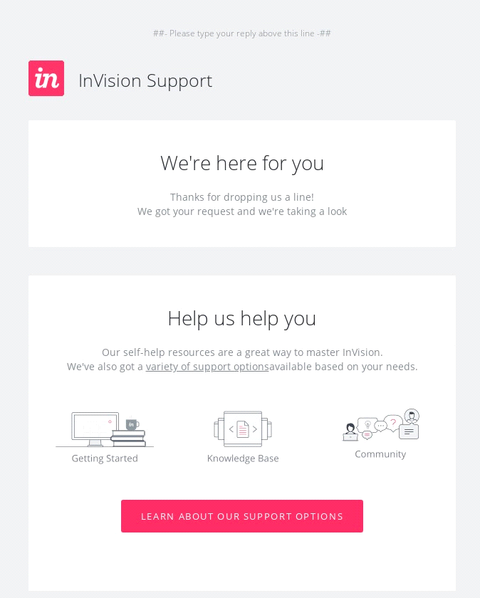 invision we are here for you email