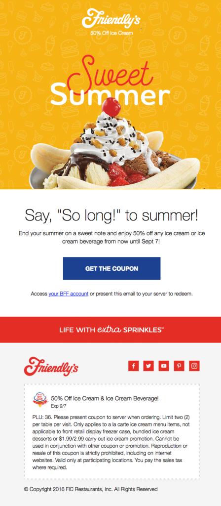 friendly's e-mail del verano