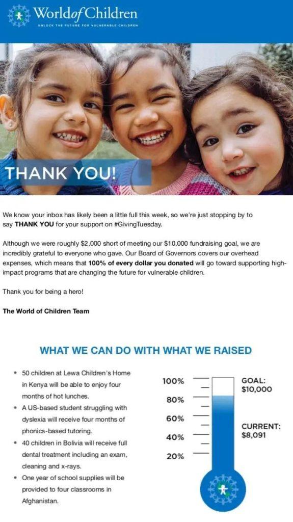 World of Children E-mail de confirmación