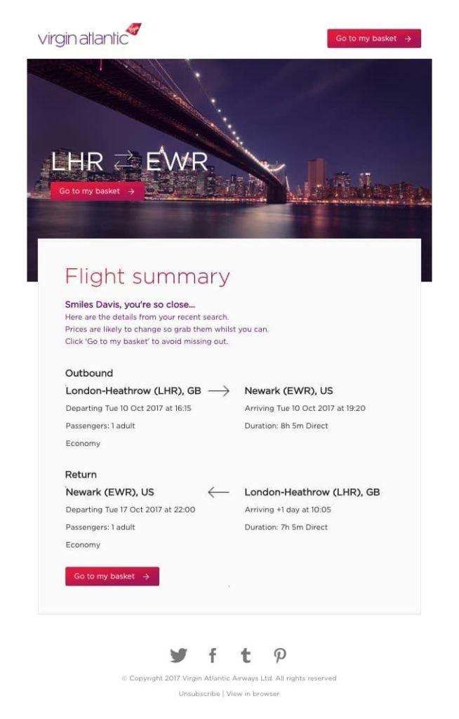 E-mail de recuperación de carro sector Viajes